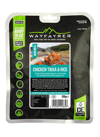 Wayfayrer Chicken Tikka & Rice, ready to eat, pouched camping meal front of pack