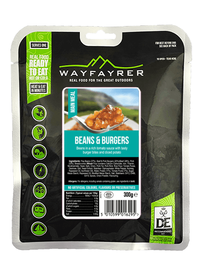 Wayfayrer Beans and Burgers, ready to eat, pouched camping meal front of pack
