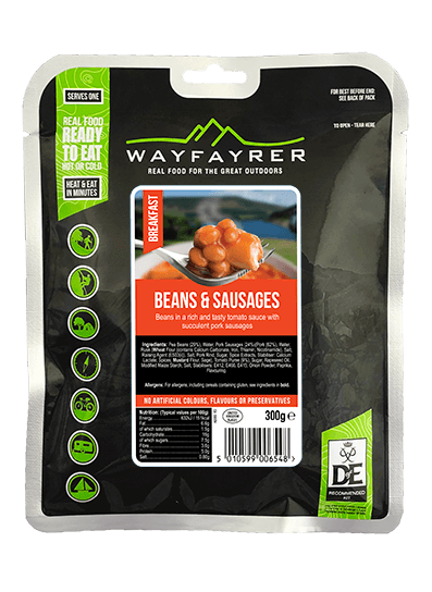 Wayfayrer Beans & Sausages, ready to eat, pouched camping meal front of pack