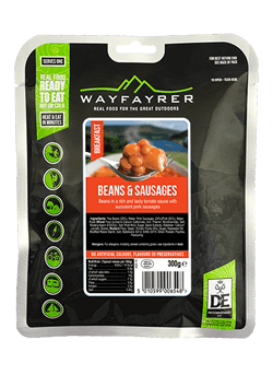 Wayfayrer Beans and Sausage, ready to eat, pouched camping meal front of pack