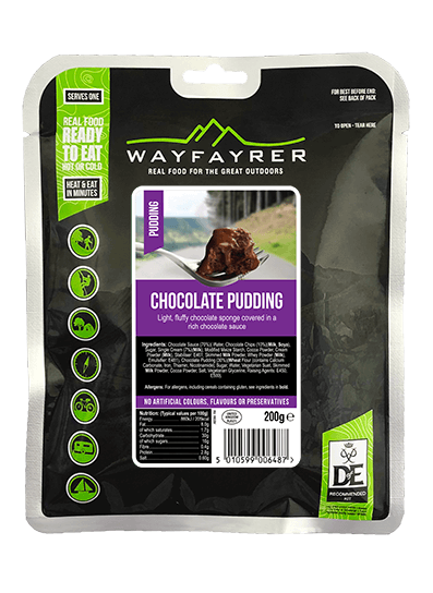 Wayfayrer Chocolate Pudding, ready to eat, pouched camping meal front of pack