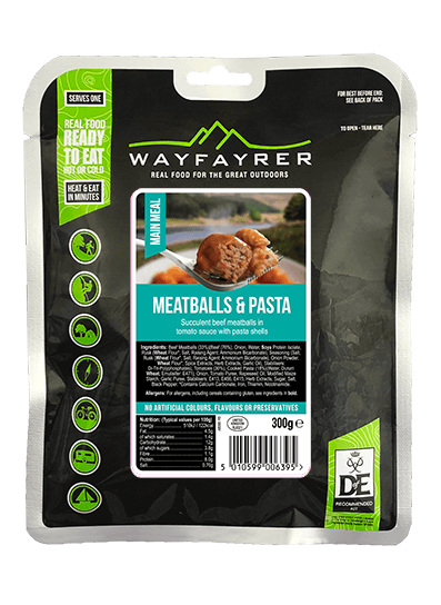Wayfayrer Meatballs & Pasta, ready to eat, pouched camping meal front of pack