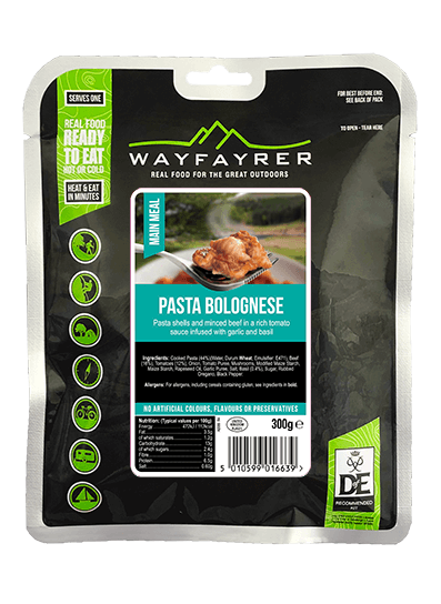 Wayfayrer Pasta Bolognese, ready to eat, pouched camping meal front of pack
