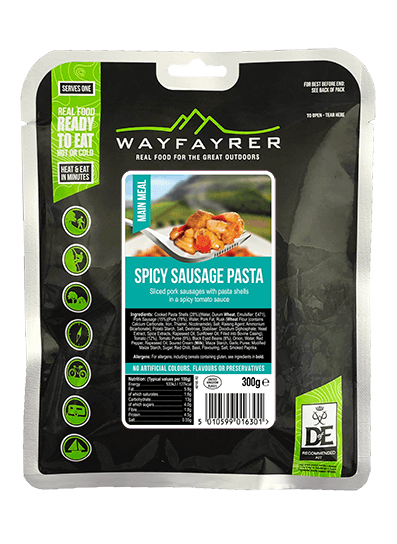 Wayfayrer Spicy Sausage & Pasta, ready to eat, pouched camping meal front of pack