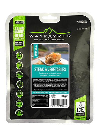 Wayfayrer Steak & Vegetables, ready to eat, pouched camping meal front of pack