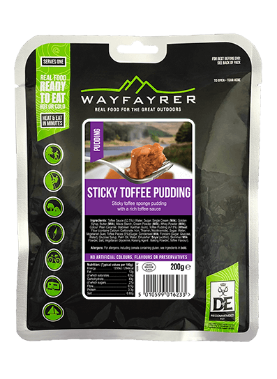 Wayfayrer Sticky Toffee Pudding, ready to eat, pouched camping meal front of pack