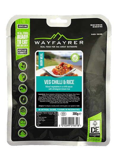Wayfayrer Vegetable Chilli & Rice, ready to eat, pouched camping meal front of pack