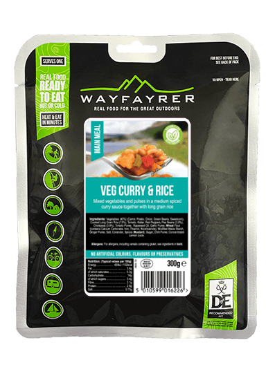 Wayfayrer Vegetable Curry & Rice, ready to eat, pouched camping meal front of pack