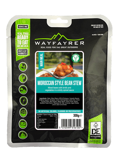 Wayfayrer Moroccan Style Vegan Stew, ready to eat, pouched camping meal front of pack
