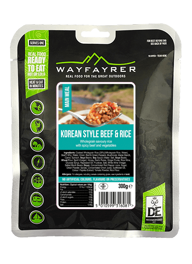 Wayfayrer Korean Style Beef & Rice, ready to eat, pouched camping meal front of pack