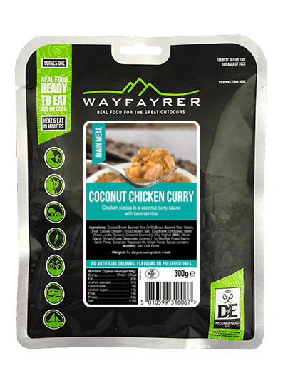 Wayfayrer Coconut Chicken Curry, ready to eat, pouched camping meal front of pack