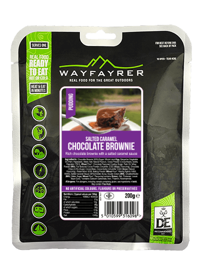 Wayfayrer Chocolate Brownie & Salted Caramel, ready to eat, pouched camping meal front of pack